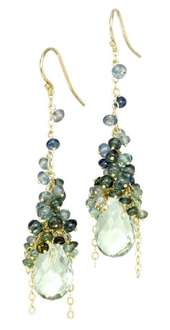 Long Cascade Earring in Green Amethyst and Blue Tourmaline