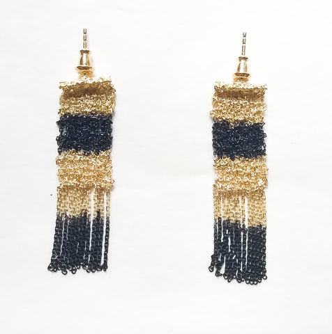 Woven Earrings in Black Silver and Gold Vermeil