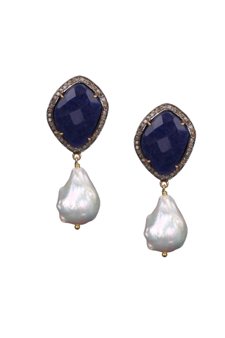 Blue Sapphire and White Baroque Pearl Earring