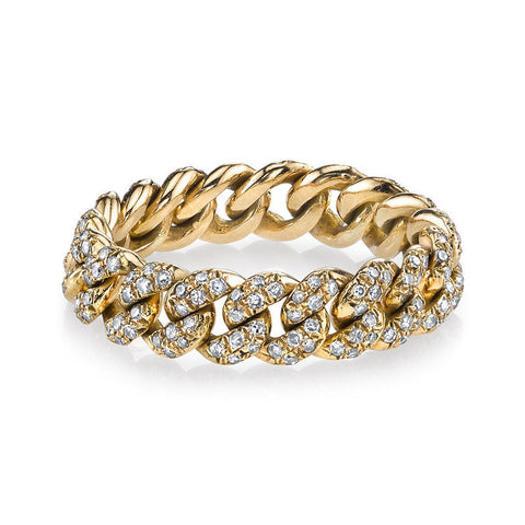 Pave Diamond Essential Link Ring in Yellow Gold