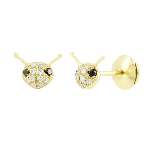 Yellow Gold and Diamond Bee Stud