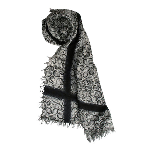 Paisley Dip Dye Scarf in Black and White