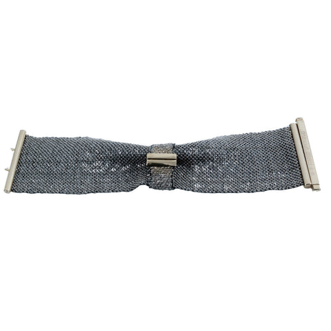 Carolina Bucci woven bow bracelet in gray silk and white gold