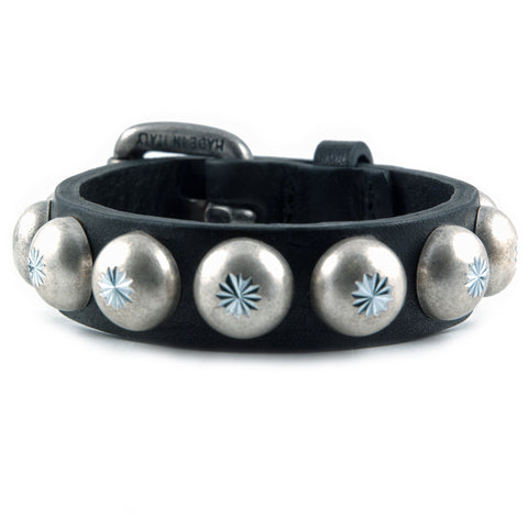 Black Leather Bracelet with Silver Domes