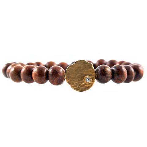Sara Weinstock brown beads with 18k disc bracelet