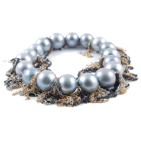 Samira 13 pearl and mixed fringe bracelet