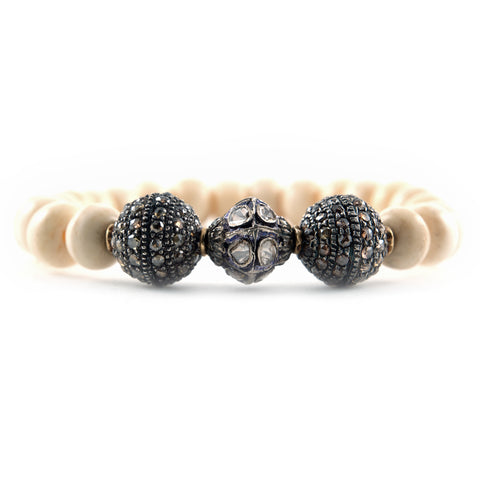 Pave Diamond and Ivory Wood Bodhi Bracelet