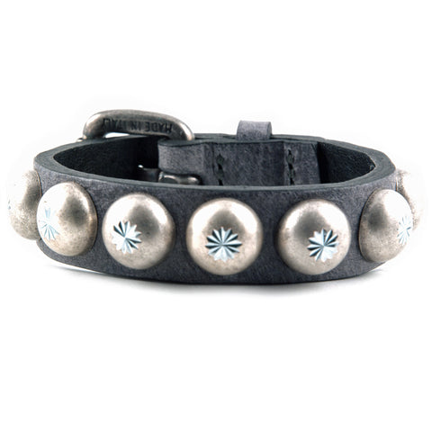 Gray leather with silver domes bracelet