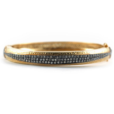 Gold and diamond hinged bangle