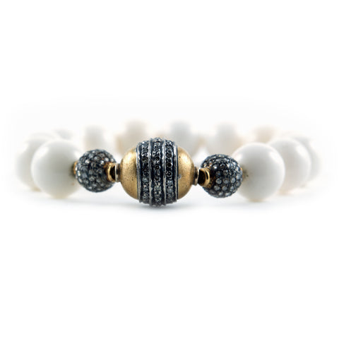 White Coral Beaded Bracelet with Diamonds