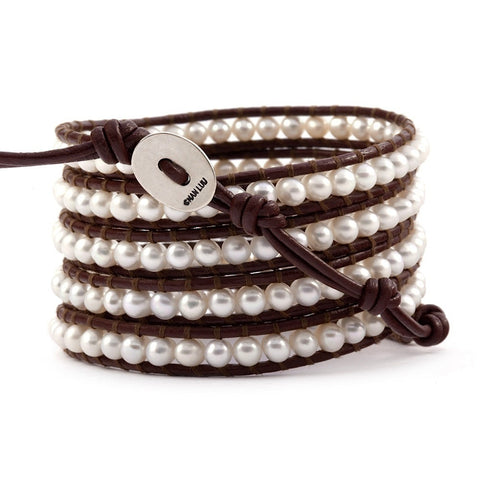 Chan Luu 32 inch white pearl and brown leather