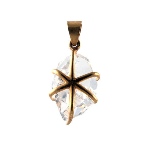 Lena Skadegard herkimer diamond pendant in 18k gold prongs