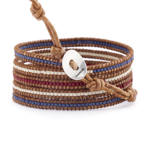 Red White and Blue Mix Wrap Bracelet