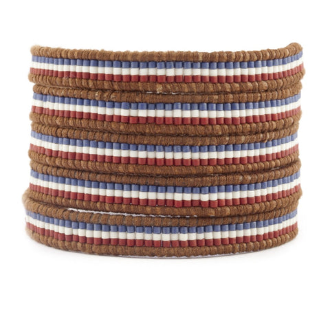 Chan Luu Red White and Blue Mixed Bead Wrap Bracelet