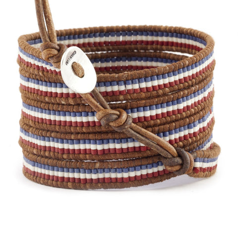 Red White and Blue Mix Stripe Wrap Bracelet