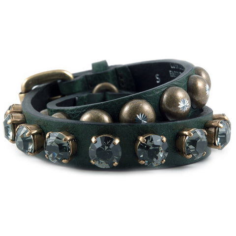 R. Pineau green leather and crystal bracelet
