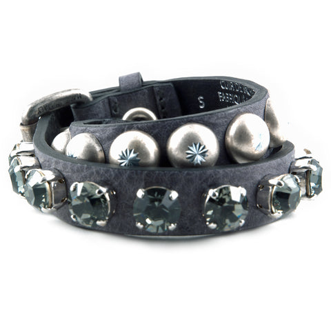 R. Pineau gray leather and crystal bracelet