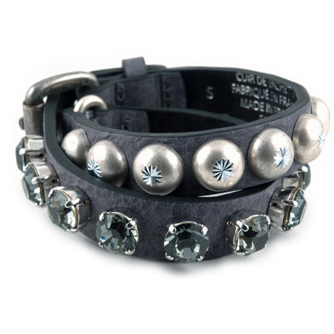 Double wrap leather bracelet with crystals