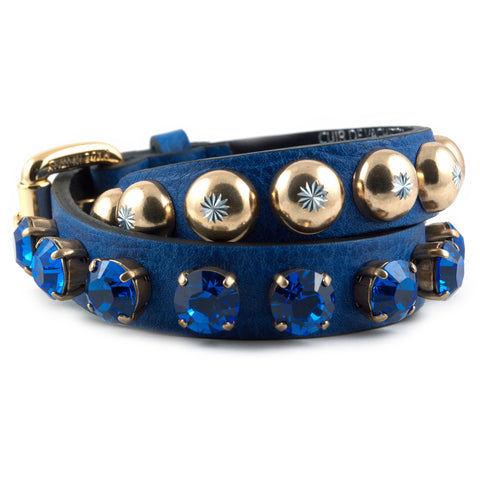 R. Pineau cobalt leather and crystal bracelet