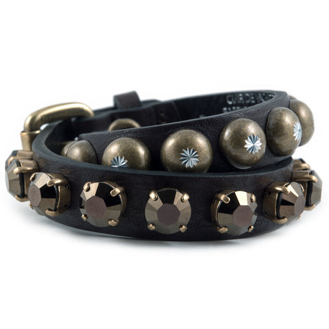 Pineau brown leather and crystal bracelet