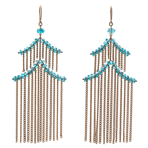 Estyn Hulbert large pagoda earrings with apatite beads