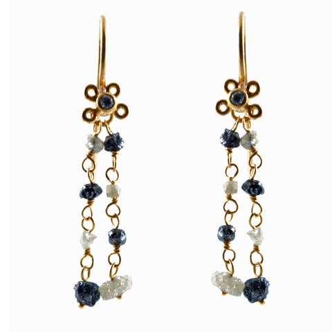 Gurhan one of a kind gold earring with raw white and black diamonds