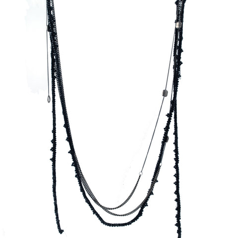 Goti long sterling chains and beading