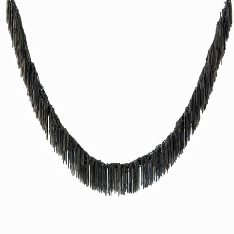 Goti sterling heavy fringe adjustable necklace