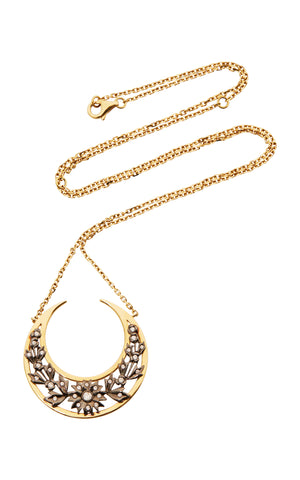 Diamond and Yellow Gold Crescent Necklace