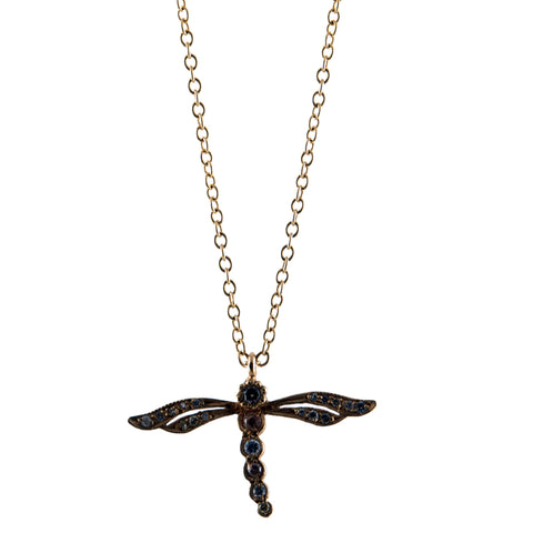 Sara Weinstock gold and diamond dragonfly on chain