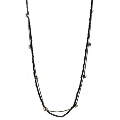 Goti Two Strand Onyx and Sterling Silver Necklace