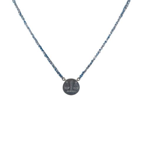 Carolina Bucci white gold and denim silk woven necklace