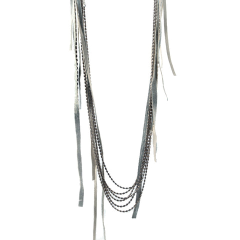 Goti sterling chains with white ribbons
