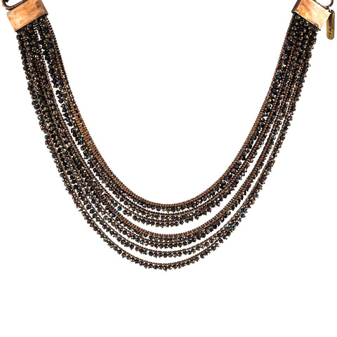 Goti Short Brass and Pyrite Necklace