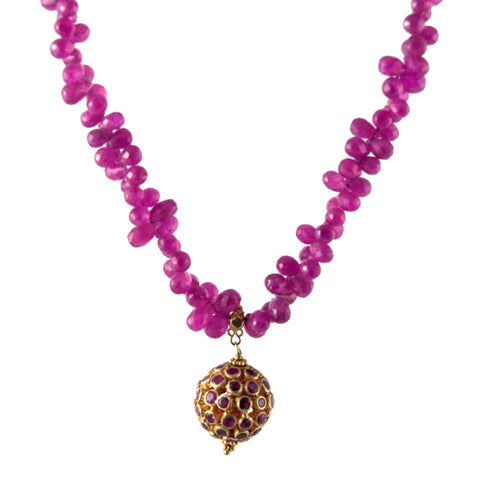 Lauren Harper ruby and gold ball on pink rubies