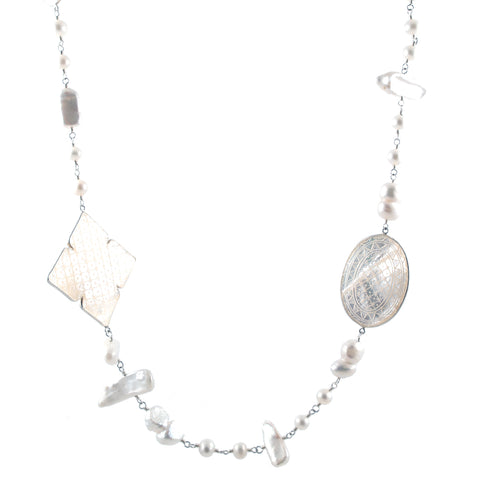 stephen dweck mother of pearl clover necklace