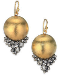 18k Gold Diamond and Sterling Drop Earrings