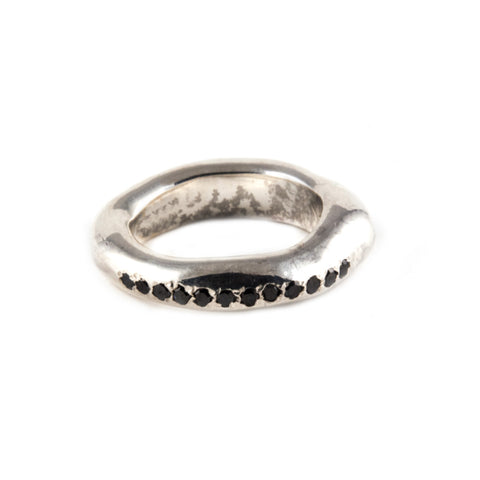 Sterling Silver and Black Diamond Stacking Ring