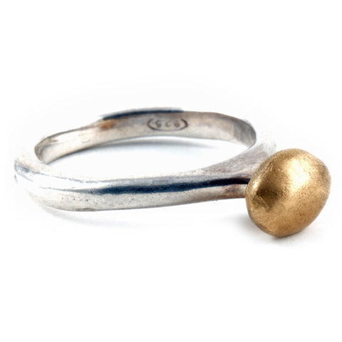 Yellow Gold and Sterling Ring