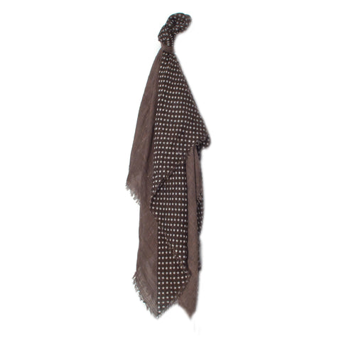 Taupe and White Star Patten Scarf