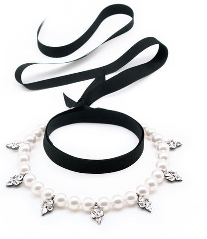 White Pearl, Crystal, Black Ribbon Choker