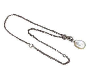 Gray Pearl Pendant on Mixed Chains