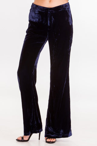 Crushed Velvet Dress Pant With Wide Leg, OLIVACEOUS, Pants - Bobbi Rocco