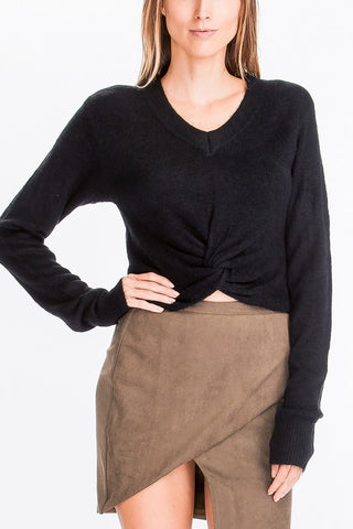 Soft Cropped Tie Bottom Sweater, OLIVACEOUS, Sweater - Bobbi Rocco