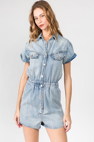 Beginning To End Denim Romper