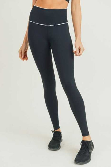 Scallop Lace Trim Leggings