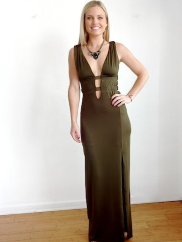 Latiste Long Olive Dress, LATISTE, Maxi Dress - Bobbi Rocco