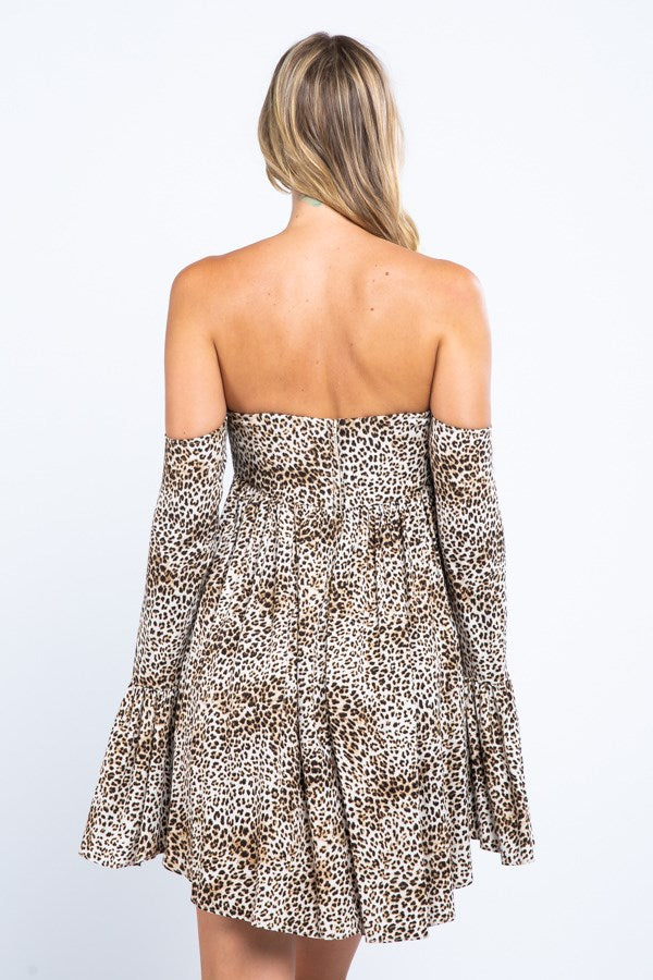 Off Shoulder Mini Leopard Dress