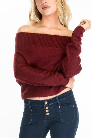 Fuzzy Off The Shoulder Sweater