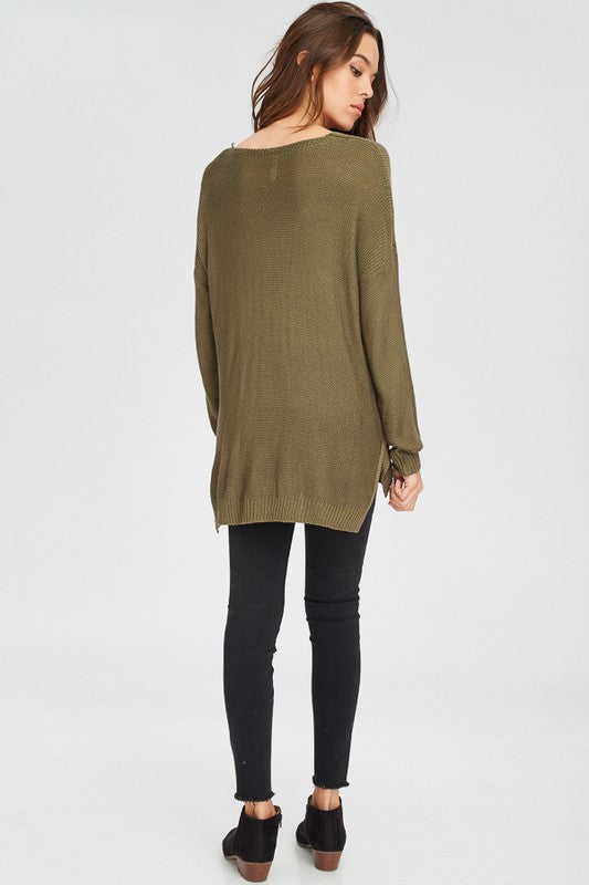 Olive Green Sweater, WISHLIST, Top - Bobbi Rocco